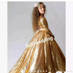 d41fbe600a Gold Sequins Girls Pageant Party Dresses Long Sleeves Toddler Formal Ball  Gowns Vestidos De Flower Girls Dress Open Back Kids Prom Gowns