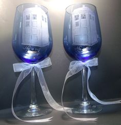 Tardis glassware, Doctor Who , Wedding goblets, set of 2 ,  wedding date or names engraved!!! O WOW