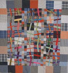 plaid crosses quilt - inspiration for up cycling men's shirts Quilting Projects, Quilting Designs, Quilt Inspiration, Crumb Quilt, Plus Quilt, String Quilts, Contemporary Quilts, Shirt Quilt, Art Abstrait