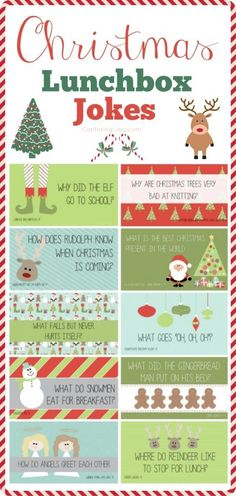 Christmas Lunchbox Jokes - Send these lunch box loves notes for the kids at school to help them enjoy the last few days of school before winter break! Noel Christmas, Winter Christmas, All Things Christmas, Christmas Crafts, Christmas Jokes For Kids, Funny Christmas, Xmas Jokes, Christmas Ideas, Christmas Movies