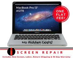 "GREAT REPAIR FOR A GREAT PRICE! 13"" MacBook Pro A1278 Screen Repair Service One Low Fee! NO HIDDEN COSTS! http://www.ebay.com/itm/-/332416426994?roken=cUgayN&soutkn=QEVBA8 via @eBay."