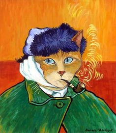 Self-Portrait With Bandaged Ear and Pipe (Vincent Van Gogh) by Susan Herbert from Impressionist Cats Vincent Van Gogh, Art And Illustration, Illustrations, Gatos Cool, Frida Art, Image Chat, Art Plastique, Crazy Cats, Cool Cats