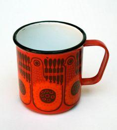 60s Vintage Finel Finland Enamelware Mug Orange Red Quail