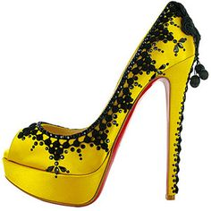 Christian Louboutin Shoes and Christian Louboutin Wedding Shoes, Christian Louboutin Torero Peep Toe Studded Pumps, Yellow Heels, Red High Heels, Black Pumps, Crazy Shoes, Me Too Shoes, Women's Shoes, Hot Shoes, Satin Shoes, Dream Shoes