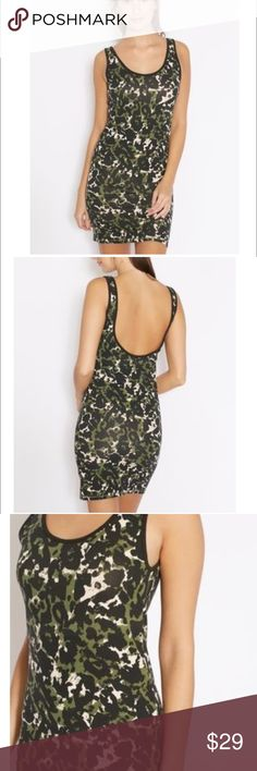 Topshop Bodycon Dress Stretchable poly-cotton blend fabric Camouflage prints all over Scoop neck and sleeveless cut Bodycon fit dress Topshop Dresses Mini