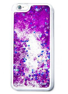 Purple Star Glitter Waterfall Phone Case