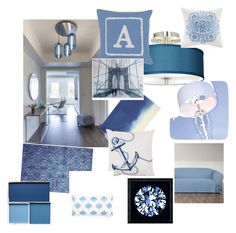 """""""a sea of blue"""" by toogoodtobereal ❤ liked on Polyvore featuring interior, interiors, interior design, home, home decor, interior decorating, Universal Lighting and Decor, Sure Fit, Bluebellgray and Ai Lati"""