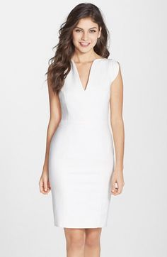 French Connection 'Lolo' Split Neck Sheath Dress available at #Nordstrom