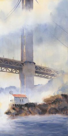 "Watercolor painting ""Bridge"" by Michael Reardon, ca. Art Aquarelle, Watercolor Pictures, Watercolor Landscape, Watercolour Painting, Landscape Art, Painting & Drawing, Watercolours, Michael Reardon, Art And Architecture"
