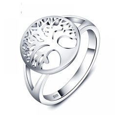 Sterling Silver Jewelry 925 Tree of Life Classic Accessories 925 Sterling Silver Rings For Women New Mothers Day Gifts (JewelOra - Sterling Silver Wedding Rings, Sterling Silver Jewelry, Silver Earrings, 925 Silver, Tree Of Life Ring, Leaf Engagement Ring, Wedding Engagement, Mother Rings, Delicate Rings