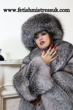 Long Red Nails In Silver Fox Fur's, So Sexy...