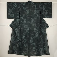 Black, floating flower pattern, hitoe summer komon kimono /【小紋】リサイクル着物/黒味の青緑色地 流水草花柄 楊柳風 単衣 夏物