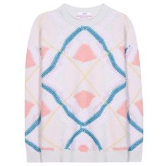 Barrie - Knitted cashmere sweater - This Barrie sweater offers a modern take on a classic design. The cream cashmere is knitted with pastel colours, accented with rich blue, and finished with pale pink textural bobbles. The colourful design looks great next to neutral or vibrant separates. seen @ www.mytheresa.com