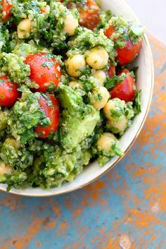 Looks delicious!  Lemon Quinoa Avocado Cilantro Chickpea Salad