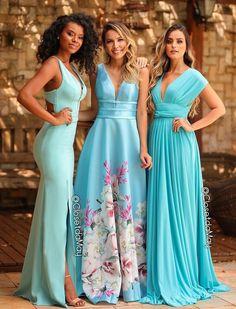 Vestido longo azul tiffany para madrinha de casamento: fotos, modelos e ten Satin Dresses, Elegant Dresses, Pretty Dresses, Gowns, Bridesmaid Dresses, Prom Dresses, Formal Dresses, Wedding Dresses, Fashion Vestidos