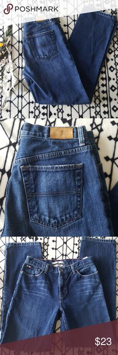 🌷1 DAY SALE🌷Tommy Hilfiger Boyfriend Jeans Jeans are in great condition but the bottom is a little messed up. They are soft but true to size with litfle scretch.  Full Length- 43in  Inseam-32in  Waist- 14 1/2in Tommy Hilfiger Jeans Straight Leg