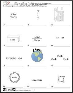 Four free worksheets that will keep your students' brains engaged! Word Brain Teasers, Printable Brain Teasers, Brain Teasers For Kids, Brain Teaser Puzzles, Brain Teasers With Answers, Rebus Puzzles, Word Puzzles, Logic Puzzles, Picture Puzzles