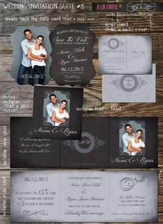 Tri folded Chalkboard Damask  Save the Date & by alacartestudio, $49.00
