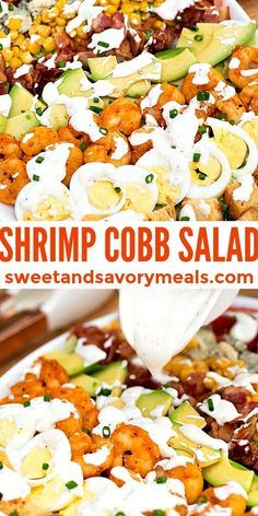 Shrimp Cobb Salad is made with browned shrimp, blue cheese, and a creamy homemade dressing. #shrimp #shrimorecipes #saladrecipes #shrimpcobbsalad #sweetandsavorymeals #cobbsalad