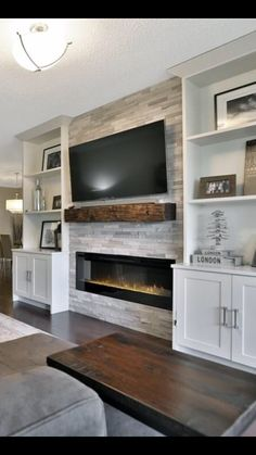 What I DONT want - bookcases sticking out farther than the fireplace. - What I DONT want – bookcases sticking out farther than the fireplace. Fireplace Built Ins, Home Fireplace, Fireplace Remodel, Living Room With Fireplace, Fireplace Design, Basement Fireplace, Fireplace Ideas, Living Room Brick Wall, Basement Tv Rooms