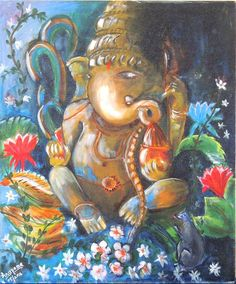 This is an acrylic on canvas of Lord Ganesha painting