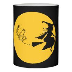 WItch On Broom Halloween LED Flameless Candle - home decor design art diy cyo custom