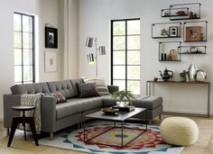 """left, right, left, right left.  No matter how many times you rearrange your room, no matter how many times you move, our ingenious Ditto Sectional will always serve you right (or left, depending on your floor plan).  So simple (why didn't someone think of this before): three easy pieces—left arm chair, right arm loveseat and ottoman—flip the """"chaise"""" position to either side by simply moving the anchoring ottoman and cushions to the left or right."""