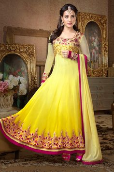 Glamour Style Yellow color Party Wear Salwar Suit