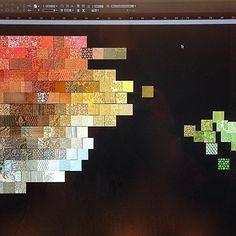 Creating a custom fabric mosaic this morning #Mosaic #Fabric #Design #InteriorDesign #Pattern #Print #Digital #Fortuny