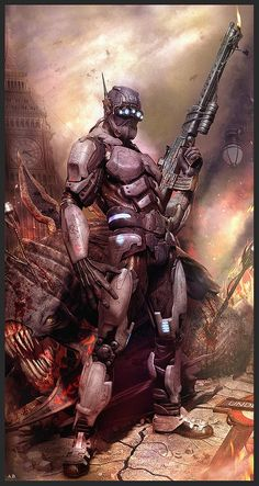 Beautiful Science Fiction, Fantasy and Horror art from all over the world. Vector Character, Character Art, Character Design, Arte Sci Fi, Cyberpunk, Armor Concept, Concept Art, Arte Ninja, Sci Fi Armor