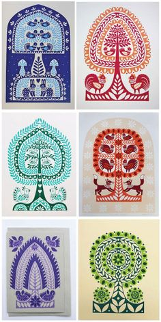 European folk art and was pleasantly surprise to discover the work of UK illustrator, Karoline Rerrie. This awesome series of folk art inspired designs was created using drawing, painting, silk screen printing and Japanese Gocco printing. These prints would certainly brighten any room.       Images: Courtesy of Karoline Rerrie