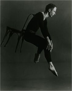 "Merce Cunningham in ""Antic Meet,"" with design by Robert Rauschenberg, in 1958. photo Richard Rutledge"