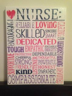 Subway Art Canvas – Words That Describe a Nurse 'Rustic' Looking Sign. Gift for rn, lpn, cna, md , Nursing Student, Nurse. Co Worker❤️