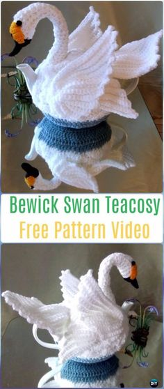 Crochet Bewick Swan Teacosy Free Pattern Video - 20 Crochet Knit Tea Cozy Free Patterns