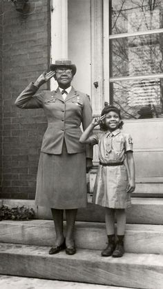 Josephine Holloway (pictured with granddaughter) was the 1st African American Troop Leader and lobbied for African Americans to be allowed to be involved in Girl Scouts.