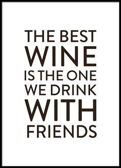 Poster met tekst over wijn voor de keuken