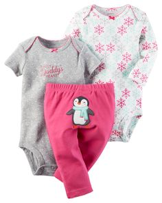 Featuring a cute little penguin on the bottom and two coordinating bodysuits, this babysoft cotton set lets her mix and match with essential pants.
