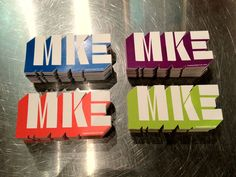 """4 Pack of bright Milwaukee colors. Special die cut sticker proudly reflecting our fair hamlet and our airport short code, this MKE sticker belongs to you. Finish size 2.5"""" x 4.5"""" Outdoor vinyl sticker."""