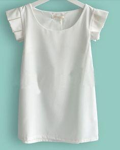White Ruffle Short Sleeve Round Neck Chiffon Blouse