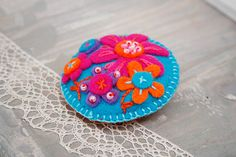 Felt pin brooch TURQUOISE with bright colorful flowers and embroidery Winter accessory Gift for her