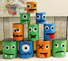 recycled halloween crafts for kids made of old tin cans easy diy decoration