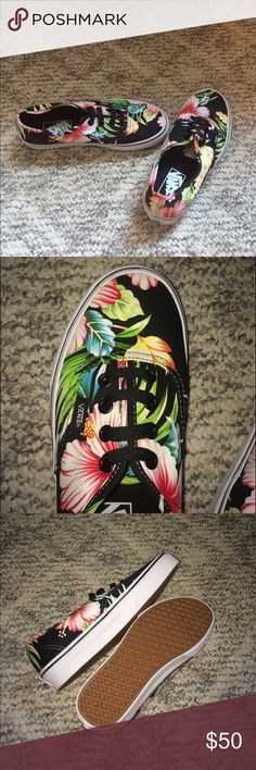 NWOT Printed Vans Never worn tropical print authentic Vans. Women's 6.5 Men's 5.0. Run a little big so you can wear with thick socks and it's not uncomfortable! Vans Shoes
