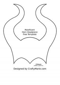 Free Pattern Template to Make Maleficent Horns Headpiece as a Headband or Mask