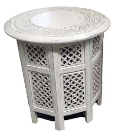 X X The intricate geometric detail and mystical tone of our octagonal tables translates across Moroccan and Indian styles. Marry with a neutral palette to complement their antique white finish and complement with bone inlay accessories and marble floors. Octagon Table, Marble Floor, Neutral Palette, Table Furniture, Moroccan, Persian, Floors, Table Settings, Tables