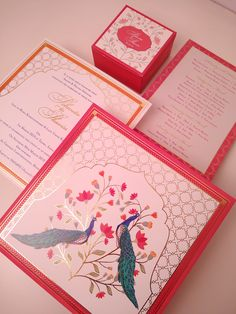 Contemporary Mughal invite with peacocks Wedding Vendors, Wedding Blog, Wedding Planner, Get Well Quotes, Digital Invitations, Plan Your Wedding, Wedding Stationery, Wedding Cards, Real Weddings