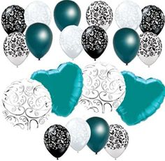 "Custom, Fun & Cool {Big Large 11""-18"" Inch} 20 Pack of Helium & Air Inflatable Mylar/Latex Balloons w/ Damask Hearts Swirl Design [in Turquoise Green, White & Black] mySimple Products"
