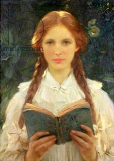 William Samuel Henry Llewellyn, Girl with pigtails Looks like Anne of Green Gables! Girl Reading, Reading Art, Reading Books, Children Reading, Reading Stories, Girl With Pigtails, Portraits, Portrait Art, Anne Of Green Gables