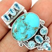 Blue Mohave Turquoise 925 Sterling Silver Pendant Jewelry BMTP962