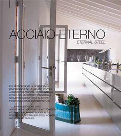 Proyecto Arclinea en Mallorca, Finca Sa Pedra, modelo Convivium island in stainless steel. #revistaarclinea #diseñoitaliano #cocinas #diseño #arclinea