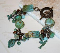 Patina Bracelet, Patina Jewelry, Rustic Bracelet, Charm bracelet, Vintaj Jewelry